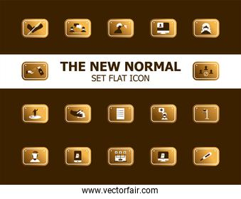 new normality road sign gradient style icons bundle vector design