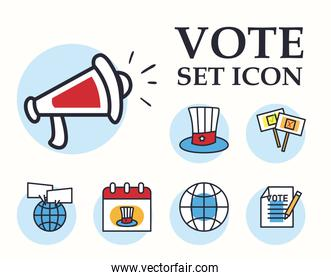 vote line and fill style set icons vector design