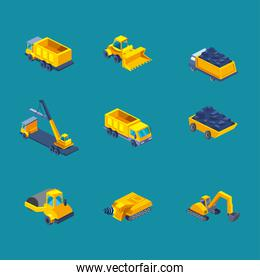 construction isometric style set icons vector design