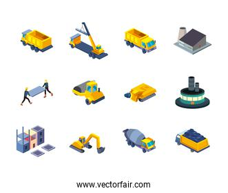 construction isometric style icon collection vector design