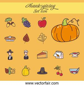 happy thanksgiving day line and fill style symbol set design