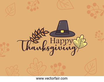 happy thanksgiving day hat with leaves line and fill style icon vector design