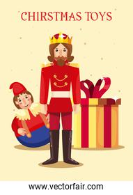 merry christmas gift prince and doll toy vector design