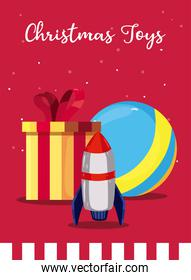 merry christmas gift ball and rocket toy vector design