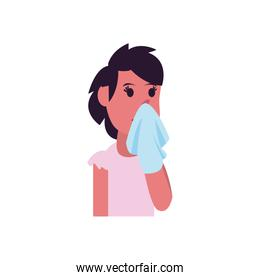 Girl cartoon with cold and tissue flat style icon vector design