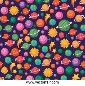 Space icons background vector design