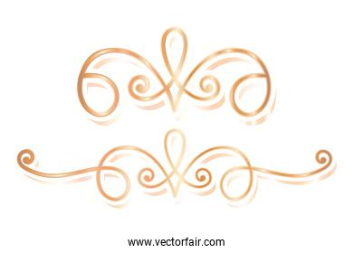 divider ornament two gold vector design