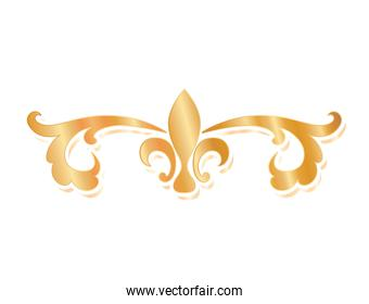 divider ornament with lis flower gold vector design