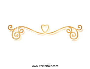 divider ornament with heart gold vector design