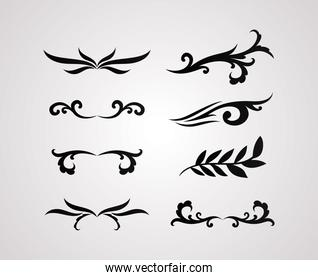 dividers ornaments line style icon set vector design