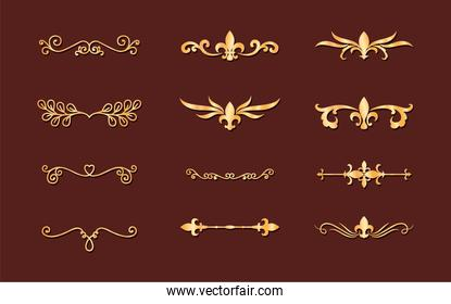 dividers ornaments gold style set icons vector design