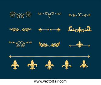 dividers ornaments gold style icon collection vector design