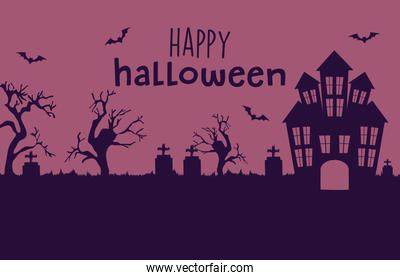 Happy halloween design with horror castle and cemetery silhouette