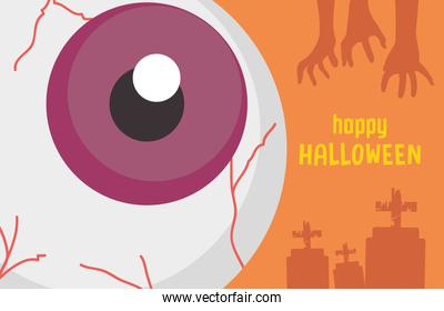 happy halloween design with scary big eye and silhouette zombie hands and graves