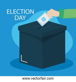 Election day design of Hand Putting Vote Bulletin Into Ballot Box