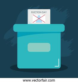 election day concept, election vote paper and ballot box, colorful design