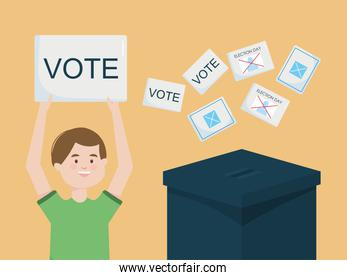 Election day design with cartoon happy man holding up a vote placards and election vote papers and ballot box