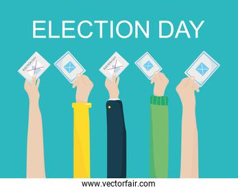 Election day design with hands holding election vote papers u