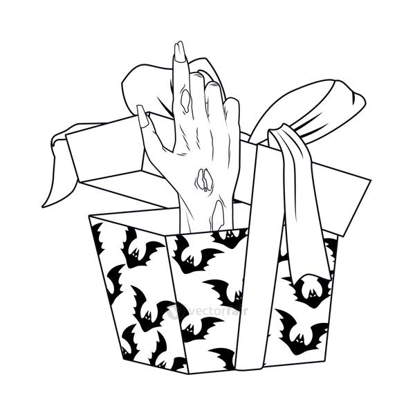 death zombie hand in gift halloween icon