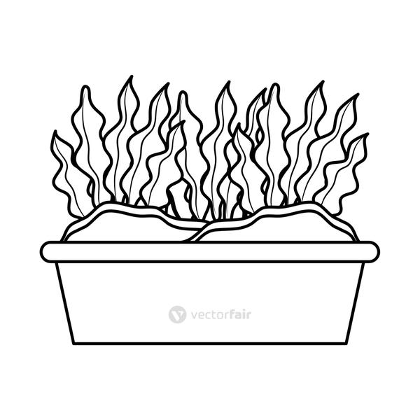 houseplant in square pot line style icon