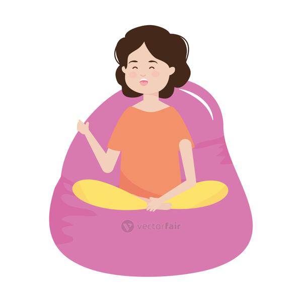 young woman sitting on bean chair comfort