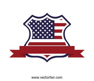 united states of america flag in shield and ribbon