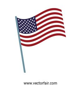 united states of america flag in pole