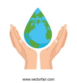 hands lifting earth planet with water drop shape