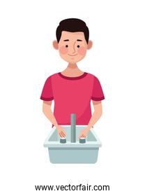 man in bathroom sink water isolated icon