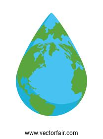 earth planet with water drop shape