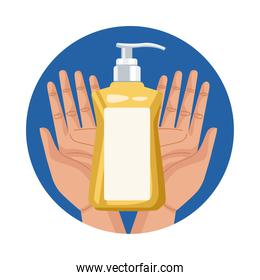 hands lifting antibacterial soap bottle product