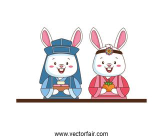 chinese rabbits couple with orange and present characters