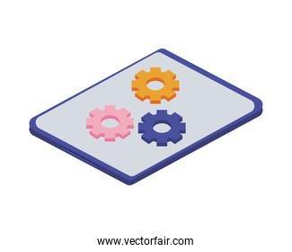 tablet electronic device with gears