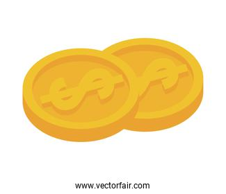 coins money dollars isolated icon