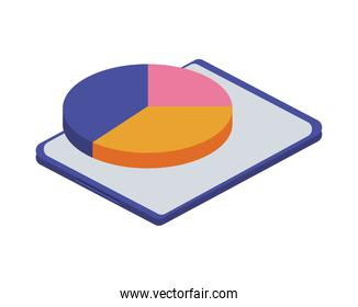 tablet electronic with statistics pie