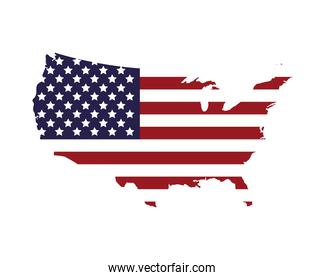 united states of america flag in map