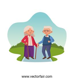 old persons couple with canes characters scene