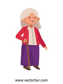 cute old woman walking with cane character