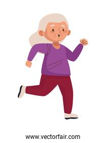 cute old woman running character