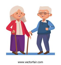 old persons couple with canes characters