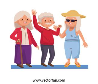 group of old people practicing activities characters