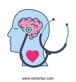 profile with brain human and stethoscope mental health care