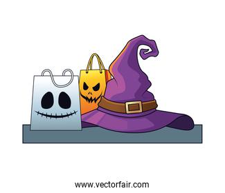 halloween witch hat with shopping bags