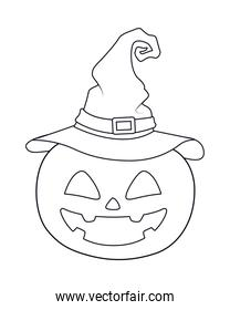 halloween pumpkin with witch hat icon