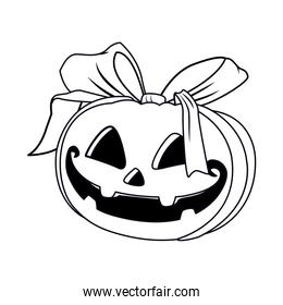 halloween pumpkin face with bow icon