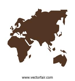 old continents silhouette geography icon
