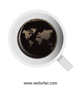 delicious coffee in ceramic cup with earth maps airview