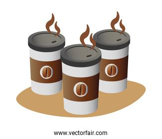delicious coffee in plastic containers