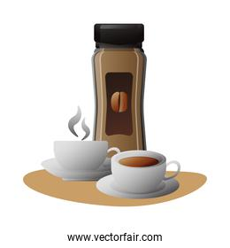 delicious coffee in ceramic cups and product bottle