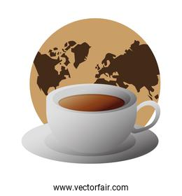 delicious coffee in ceramic cup with earth planet